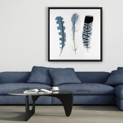 Framed 36 x 36 - Delicate blue feathers