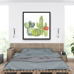 Framed 36 x 36 - Gathering of small cactus