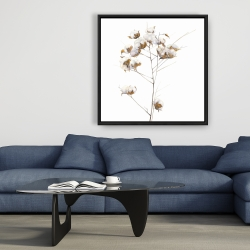 Framed 36 x 36 - Cotton flowers branch