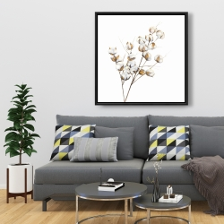Framed 36 x 36 - A branch of cotton flowers