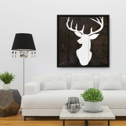 Framed 36 x 36 - Silhouette of a deer on wood