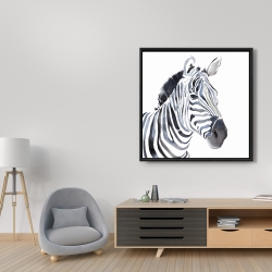 Framed 36 x 36 - Watercolor zebra