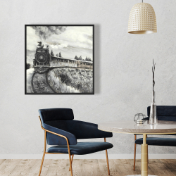 Framed 36 x 36 - Steam engine train
