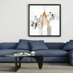 Framed 36 x 36 - Blurry sketch style cityscape