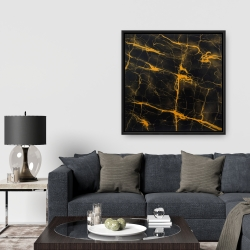 Framed 36 x 36 - Black and gold marble texture