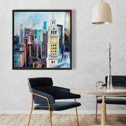 Framed 36 x 36 - Colorful cityscape of manhattan