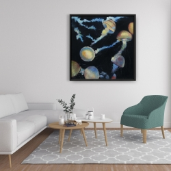 Framed 36 x 36 - Colorful jellyfishes in the dark