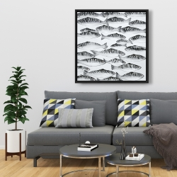 Framed 36 x 36 - Gray shoal of fish