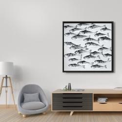 Framed 36 x 36 - Gray school of fish