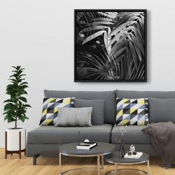 Framed 36 x 36 - Monochrome tropicals leaves