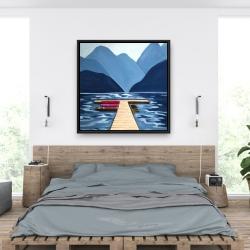 Framed 36 x 36 - Lake, quai & mountains