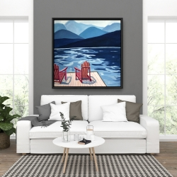 Framed 36 x 36 - Lake, dock, mountains & chairs