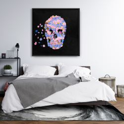 Framed 36 x 36 - Skull of flowers in flight