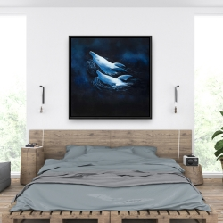 Framed 36 x 36 - Two swimming dolphins