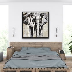 Framed 36 x 36 - Grayscale elephant