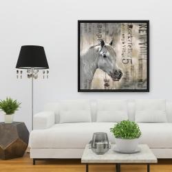 Framed 36 x 36 - Rustic white horse