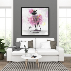 Framed 36 x 36 - Cartoon cat with pink flowers