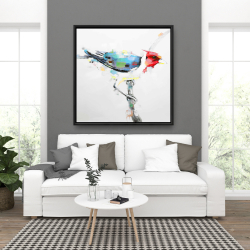 Framed 36 x 36 - Colorful woodpecker
