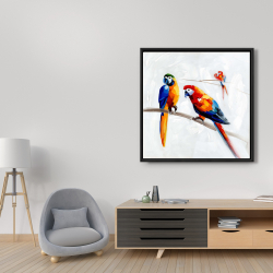 Framed 36 x 36 - Parrots on a branch