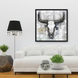Framed 36 x 36 - Bull skull on an industrial background