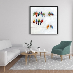 Framed 36 x 36 - Colorful birds on a wire