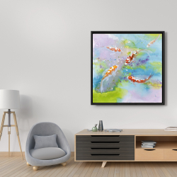 Framed 36 x 36 - Four koi fish swimming