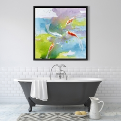 Framed 36 x 36 - Koi fish in colorful water
