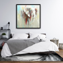 Framed 36 x 36 - Abstract elephant with paint splash