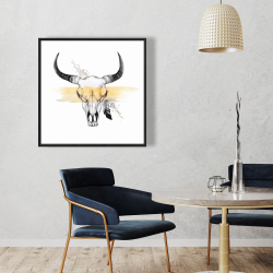 Framed 36 x 36 - Cow skull with feather
