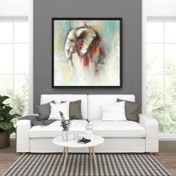Framed 36 x 36 - Abstract paint splash elephant