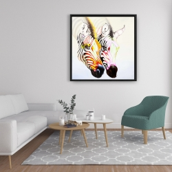 Framed 36 x 36 - Couple of colorful zebras