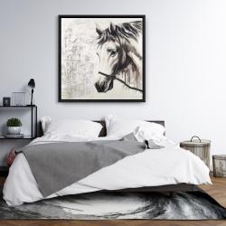 Framed 36 x 36 - Alpha the white horse