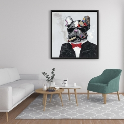 Framed 36 x 36 - Smoking gangster bulldog