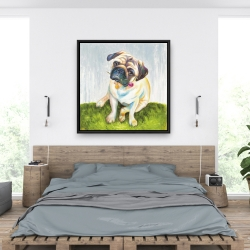 Framed 36 x 36 - Cute pug with a rose in his mouth
