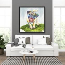 Framed 36 x 36 - Colorful smiling pug