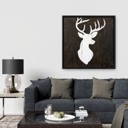 Framed 36 x 36 - White silhouette of a deer on wood