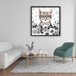 Framed 36 x 36 - Geek cat