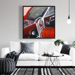 Framed 36 x 36 - Vintage red car dashboard