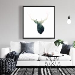 Framed 36 x 36 - Deer head with green landscape shape