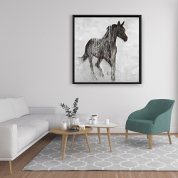 Framed 36 x 36 - Abstract brown horse