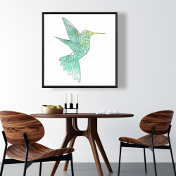 Framed 36 x 36 - Geometric hummingbird
