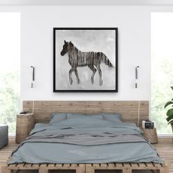 Framed 36 x 36 - Gambading abstract horse