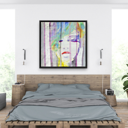 Framed 36 x 36 - Abstract colorful portrait