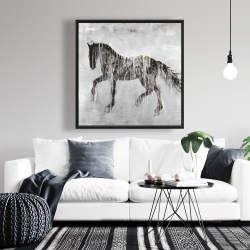 Framed 36 x 36 - Horse brown silhouette