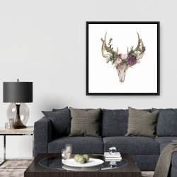 Encadré 36 x 36 - Crâne de chevreuil avec fleurs