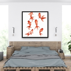 Framed 36 x 36 - Small red fishes
