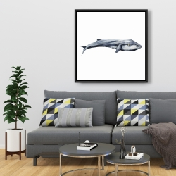Framed 36 x 36 - Watercolor whale