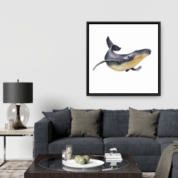 Framed 36 x 36 - Watercolor blue whale