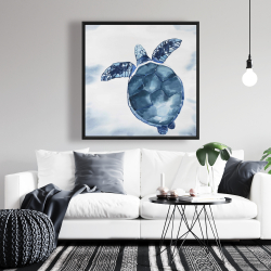 Framed 36 x 36 - Blue turtle