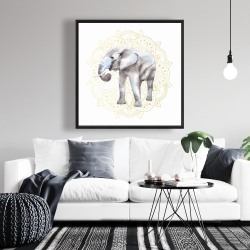 Framed 36 x 36 - Elephant on mandalas pattern